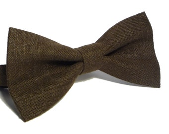 Dark Brown Bow Tie, Brown Linen Bow Tie For Wedding, Mens bow tie, Kids bow ties, Bow ties for boys, Baby bow ties, pre tied bow tie
