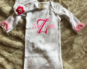 Baby Girl Coming Home Gown Pink Roses