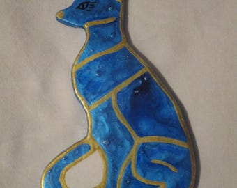 "Cat series ""Bastet"" blue/gold"