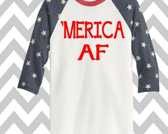 Merica AF 3/4 Sleeve Baseball Tee Unisex 4th of July Tee Patriotic T-Shirt Memorial Day Tank Funny Drinking Shirt 'MERICA Lake Shirt