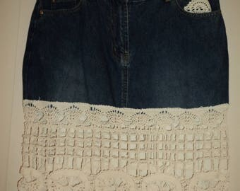 Up-cycled re-cycled re-purposed denim and lace doilies skirt festival one off design