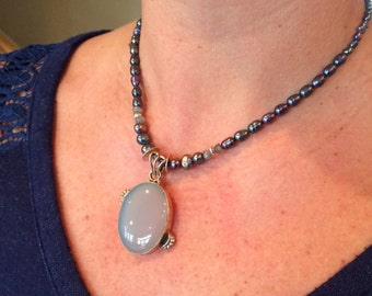 Handmade Tahitian Pearl Necklace with Eye Catching Moonstone