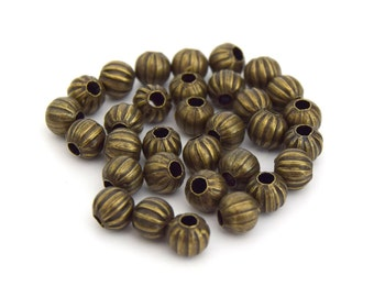 Beads round shape pumpkin Bronze Ø6mm - Pearls Round shape shape Pumpkin Bronze set of 60/80/100 units