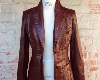 Etienne Aigner 1970's  Leather jacket / oxblood / medium / vintage