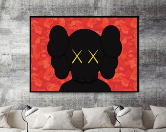 Custom Urban Graffiti Red Poster, Supreme Poster Art, Kaws Style Wall Art Poster, 12 x 18  Livingroom Bedroom Wall Print Bape Style Poster
