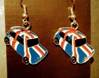 Austin / Mini Cooper British flag enamelled drop earrings