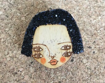 Wooden Illustrated Art Badge Brooch BLACK  GLITTER with glitter freckles