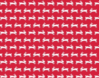 Jumping Rabbits in Red - Forest Talk - Andover quilting cotton fabric