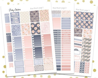 Blue Blush Weekly Kit for Erin Condren   Printable   Includes Blackout Files for Easy Cutlines