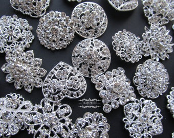 20 Rhinestone Brooch Lot Silver Pin Mixed Wholesale Crystal Wedding Bouquet Brooch Bridal Button Embellishment Hair Cake Shoe Napkin DIY Kit