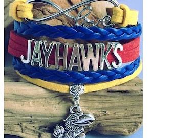 KU Jayhawks Kansas University Layer Bracelet