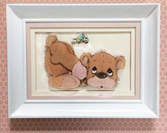 Nursery wall art, Bear nursery decor, Precious moments, Baby bear print, Girl nursery decor