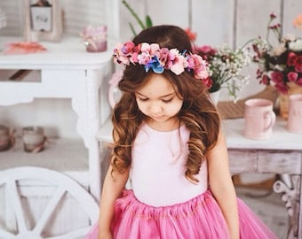Flower Girl Crown \ Headpiece Baby Flower Headband Toddler Headband Baby Girl Headband Birthday Crown Girl Birthday