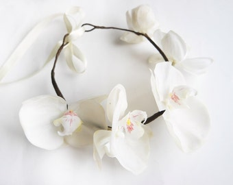 White Orchid Flower Crown, FlowerGirl Headpiece, Elegant Bridal Hair Piece, Beach Wedding Headband, Orchid Headpiece