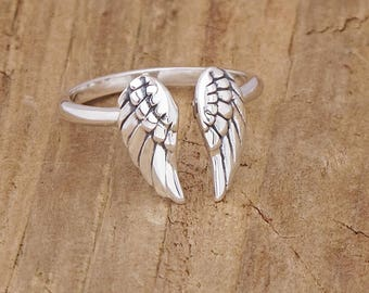 Sterling Silver Angel Wing Adjustable Ring 925 Gothic Steampunk