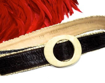 VINTAGE: Leatherock Belt - San Diego - Genuine Leather - Leather Buckle Belt - SKU 19-D2-00008542