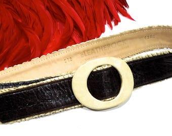 VINTAGE: Leatherock Belt - San Diego - Genuine Leather - Leather Buckle Belt - SKU 19-D2-00008542