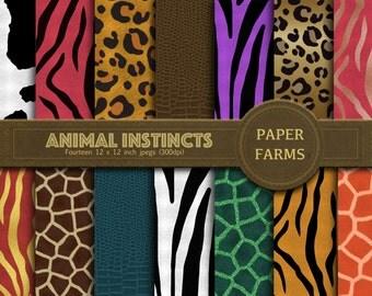 Animal print digital paper, Animal print digital scrapbooking, Animal fur digital paper, cowhide digital paper, instant download
