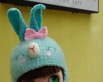 OOAK Blythe Helmet Hat Rabbit