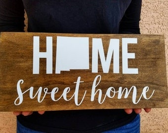 Home sweet home sign with state outline custom sign, perfect housewarming gift