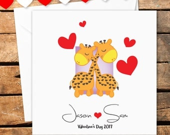Personalised Happy Valentines Day Card Love Giraffes Red Hearts I Love You For Her For Him Husband Wife Boyfriend Girlfriend Couple Forever