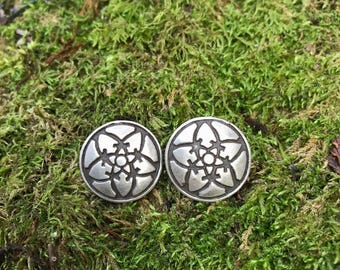 Sterling Silver Concho Earrings with Concentric Star Pattern