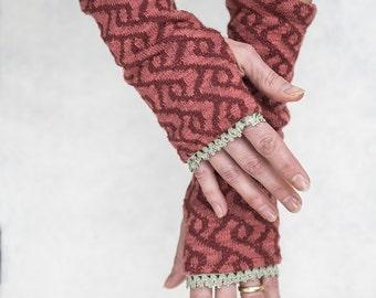 "BIO mix arm warmers ""Saxon Braid"" cotton knit lining"