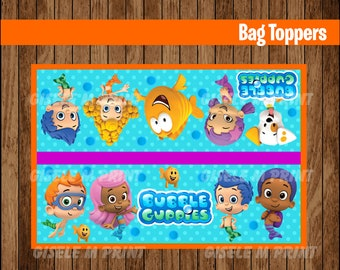 Bubble Guppies Bags, Printable Bubble Guppies Bag toppers, Bubble Guppies party treat bags instant download