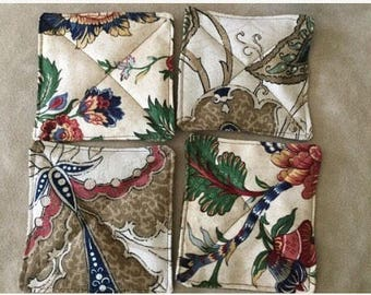 New set of 4 drink coaster mat handmade fabric mug rug
