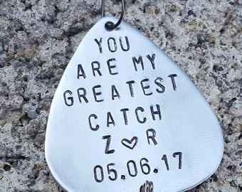 You are my greatest catch, fishing lure, gift for husband, gift for boyfriend, gift for fiance, best catch, Hand stamped, fathers day, lure