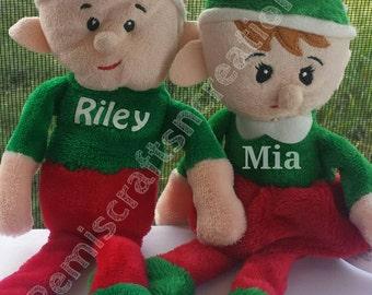 Personalized Elves, FREE SHIPPING, stuffed Elf, Stocking stuffer Elf, Santa's helper Elf, Plush Elf, Christmas Elf