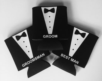 Tuxedo Can Coolers - Groomsman Can Coolers - Groomsmen Gift - Wedding Party Gift