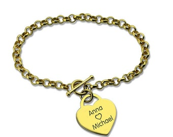 Personalized Heart Engraved Nameplate Bracelet  Love Jewelry