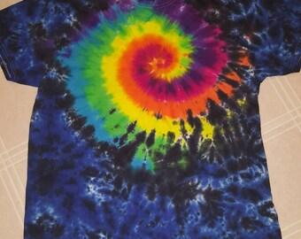 Dark Side of the Rabbit Hole Tie Dye - Rainbow Tie Dye - Festival Tie Dye - Rainbow/Blue/Black - Fiber Art -