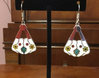 Silver and white earrings from Mexico