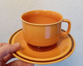 "Egersund Norway ""Unique"" tea Cup and Saucer Kaare Block Johansen Scandinavian design orange brown retro tableware"