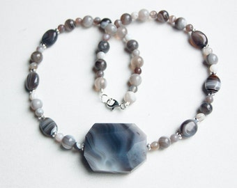 Coffee and Cream Botswana Agate Necklace with Sterling Silver