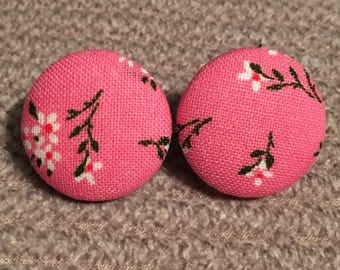 fabric covered button floral pink earrings