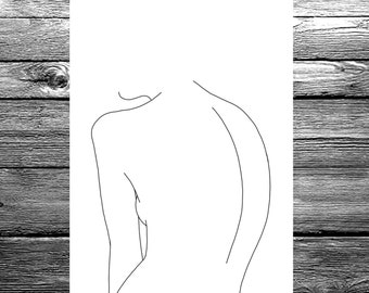 Women's back linear line hand drawing available in A6, A5 or A4 size, black and white minimal artwork