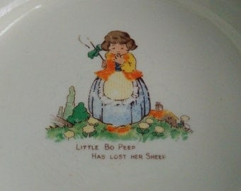 Vintage 1930's Little Bo Peep Baby's Plate