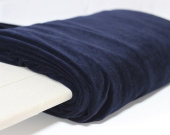 Navy Blue Velour Medium Weight Stretch Fabric
