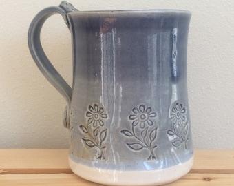 Ceramic Flower Mug, Handmade Pottery, Blue and White