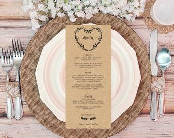 Rustic Heart Editable Wedding Menu Card, Printable wedding template, Instant Download PDF