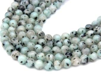 Sesame Jasper Beads 6mm 8mm Kiwi Jasper Polish Natural Aqua Green Gemstones Beads Mala Beads Light Green Beads Mala Necklace Bracelet Supply