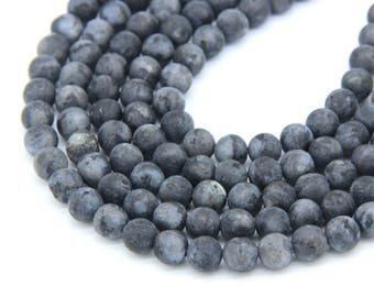 Matte Black Labradorite Beads 6mm8mm 10mm Natural Black Gray Gemstone Genuine Labradorite Blue Flash Mala Beads Dark Gray Labradorite Beads
