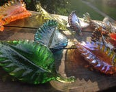 Hand blown glass fall leaves in various colors