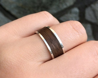 Silver and Wooden Ring, Silver and Wood Ring, Wooden Band Ring, Wood Wedding Band Ring in Sterling Silver Metal, Man Ring, Engagement Ring
