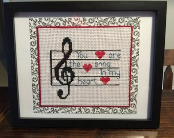 Framed Stitched Musical Art