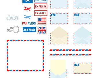 Postal Elements and Air Mail Clip Arts Set, Vintage, Letters, Borders, Frames, Planes, Post Office, Stamps, Mail, Postal Elements, Par Avion