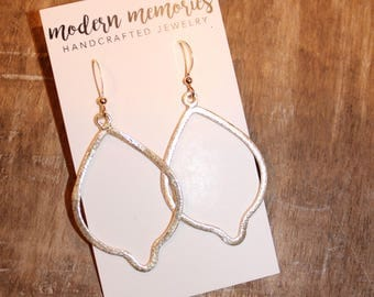 Gold Pear Shaped Marquise Earrings